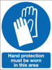 Hand protection must be worn in this area  sign