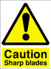 Caution sharp blades adhesive sign