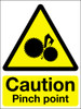 Caution pinch point adhesive sign