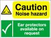 Caution noise hazard Ear protectors sign