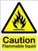 Caution flammable liquid sign