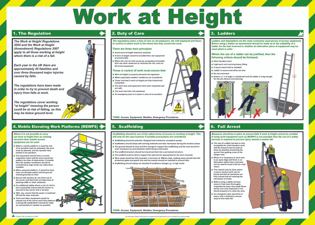 safe system of work for equipment at height A survey of four commonly used equipment for working at tallness: ladders, nomadic type tubular scaffolds, elevated working platforms and bamboo scaffolds analyze their map, restrictions, hazard and encountered in the work processes.