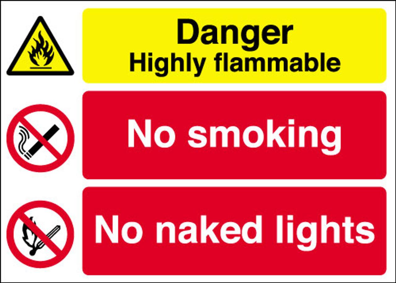 Danger Highly flammable  No smoking No naked lights sign