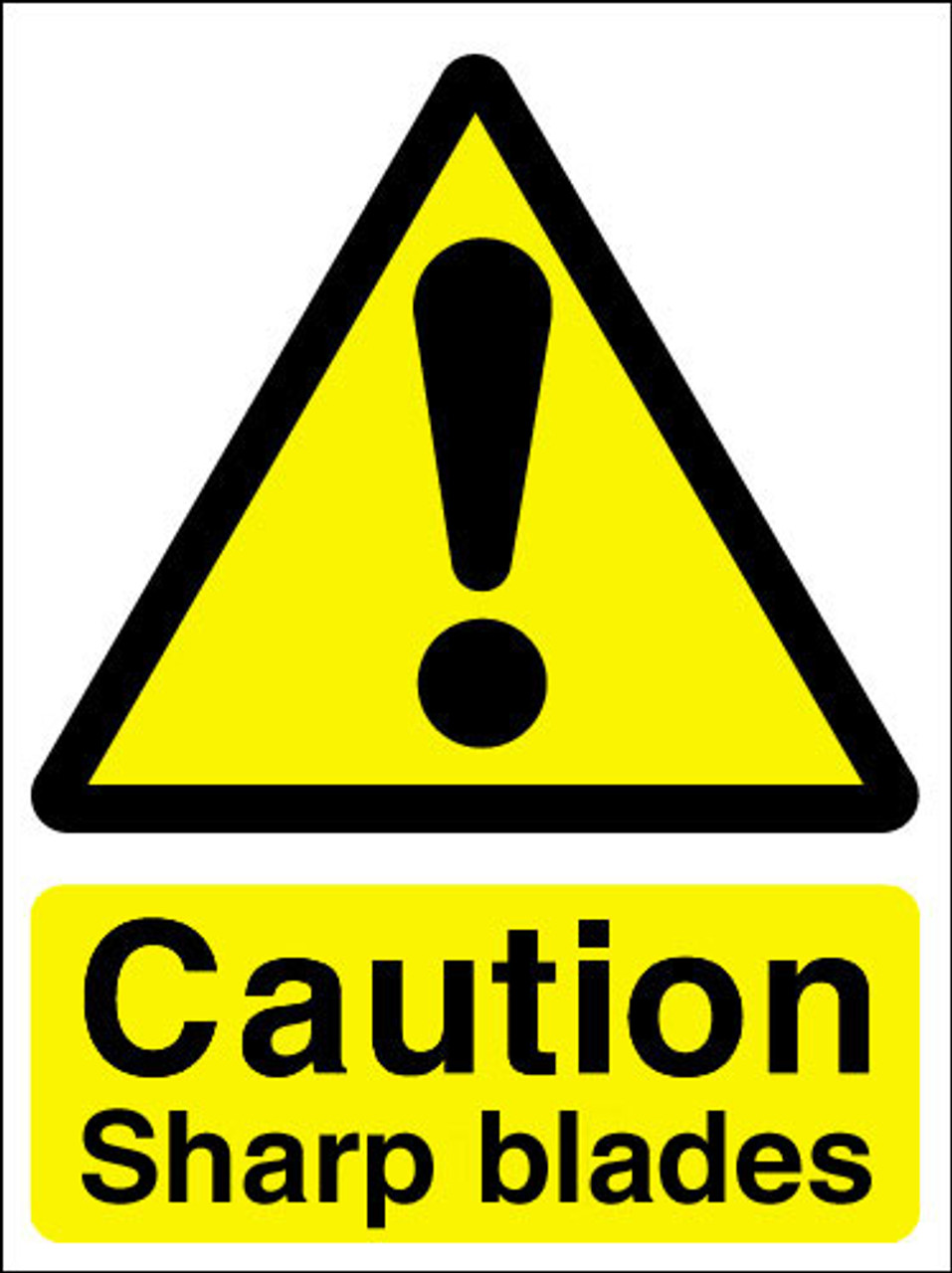 Caution Sharp Blades Adhesive Sign Signs 2 Safety