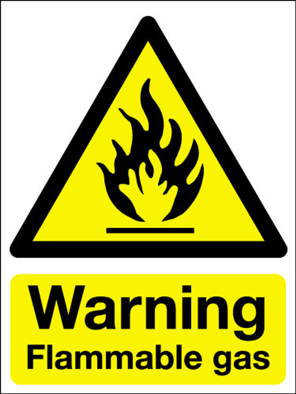Warning flammable gas sign
