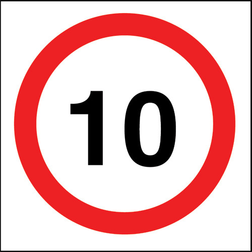 10 mph Speed sign