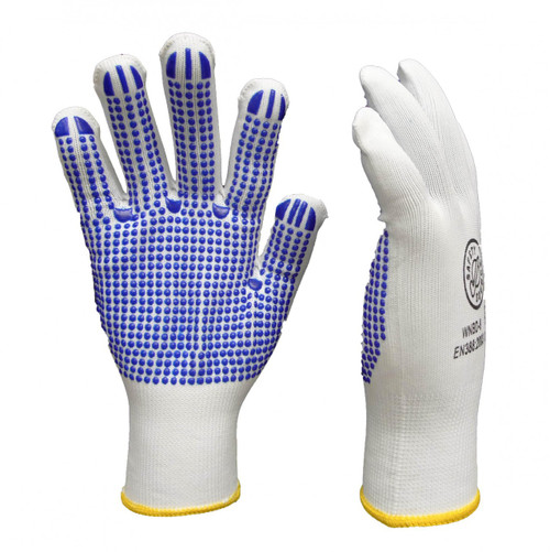 White Nylon Latex Polka Dot Gloves