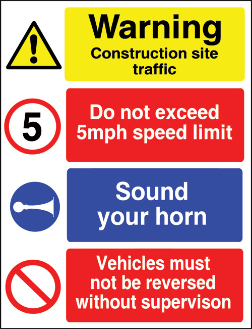 Warning construction site traffic sign
