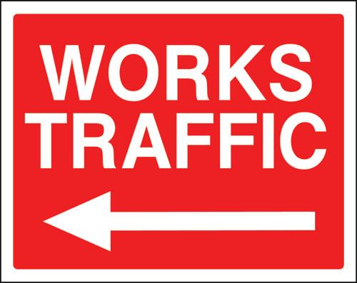 Work traffic left sign