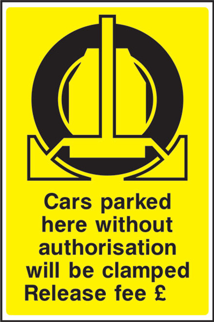 Cars parked here - Will be clamped