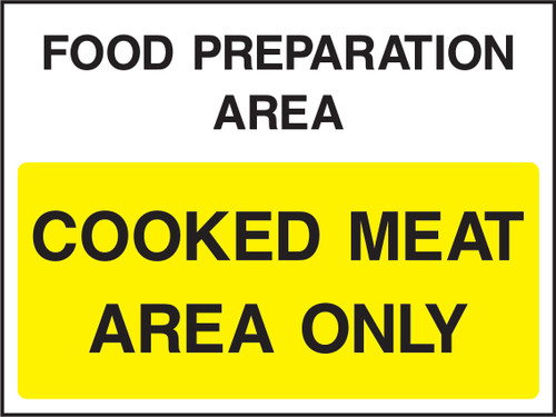 Food prep area cooked meat area only adhesive sign signs - Plaque adhesive cuisine ...