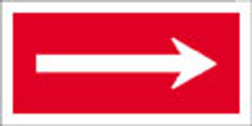 white on red arrow sign