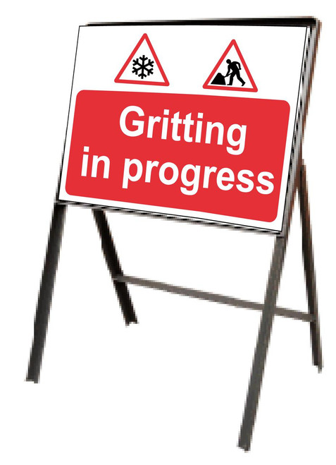 Gritting in progress sign