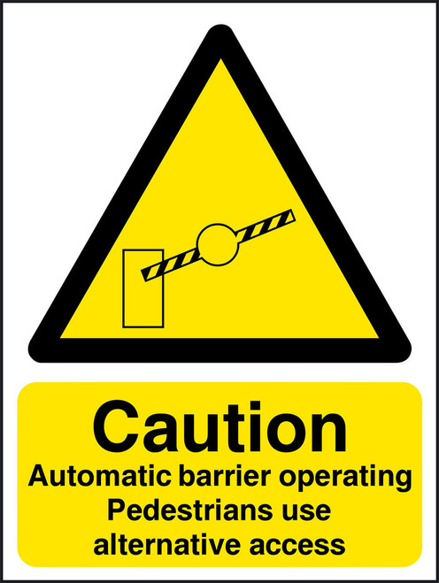 Caution Automatic barrier operating pedestrians use alternative access