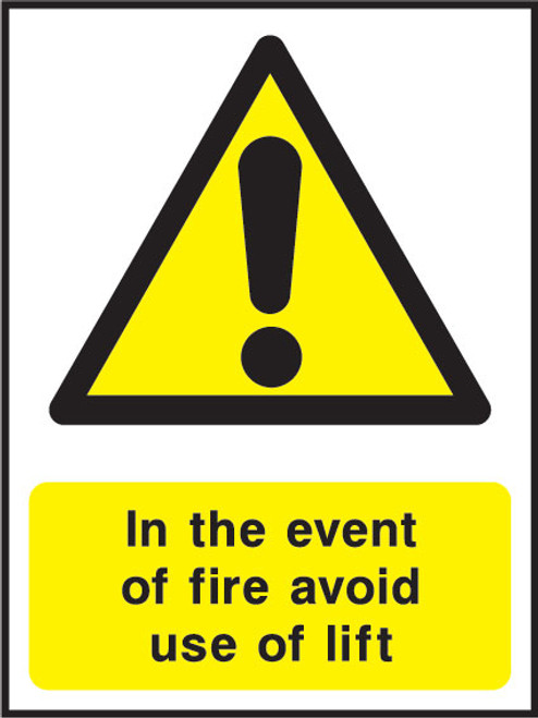 In the event of fire avoid use of lift