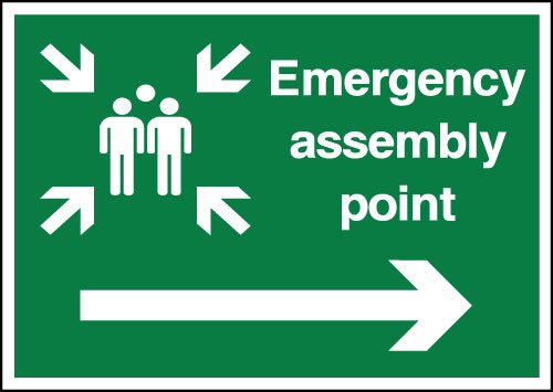 Emergency assembly point safety sign Right