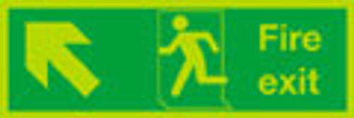 Fire exit Up Left sign, nite-glo