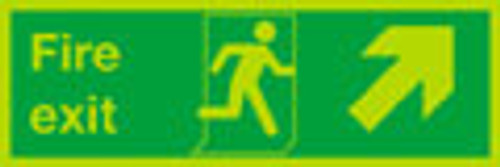Fire exit Up Right sign, nite-glo
