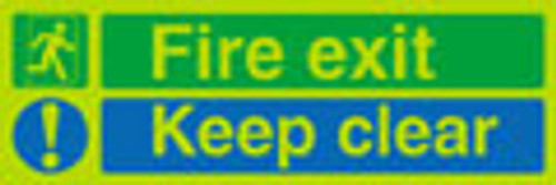 Fire exit Keep clear sign, nite-glo