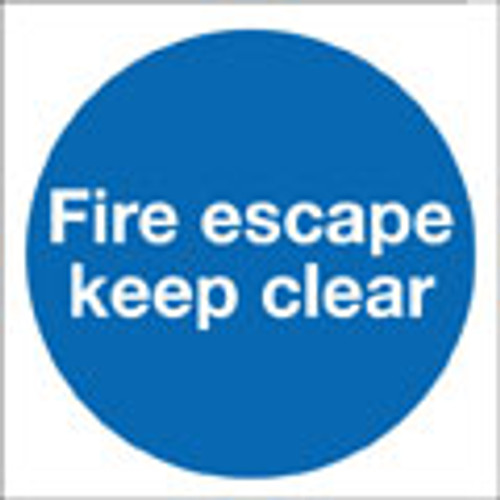 Fire escape keep sign