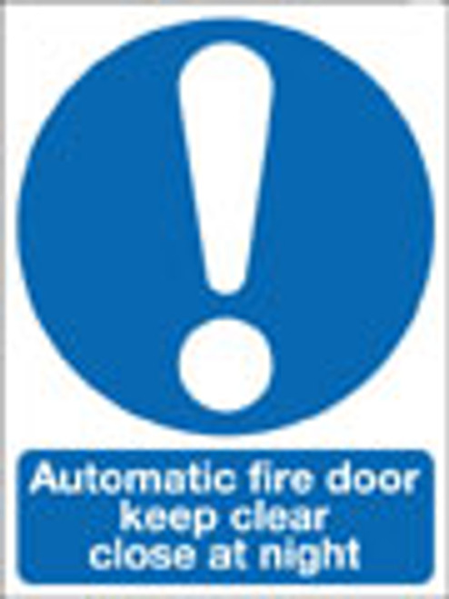 Automatic fire door keep clear close at night sign