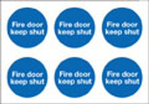 Fire action keep shut labels on sheet