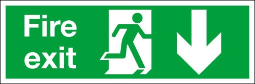 Fire exit sign Down