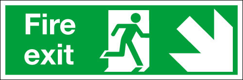 Fire exit sign Down/Right
