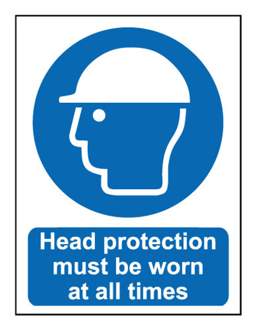 Head protection to be worn at all times sign