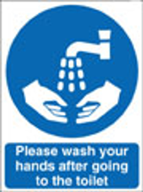 Please wash your hands after going to the toilet sign