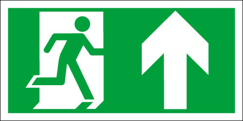 Fire exit sign, Running Man Up