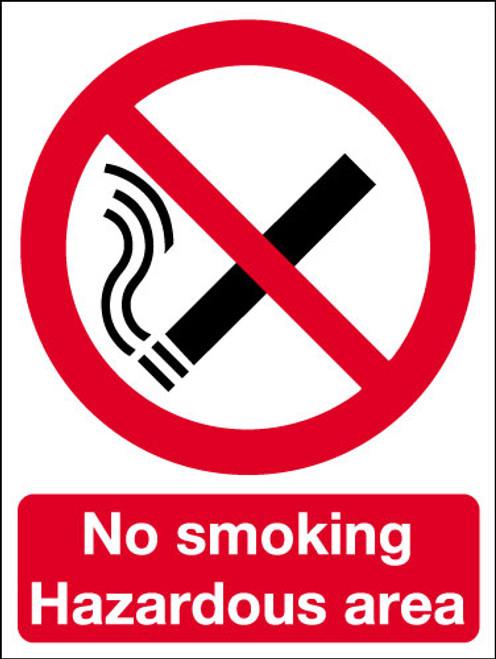 No smoking hazardous area sign