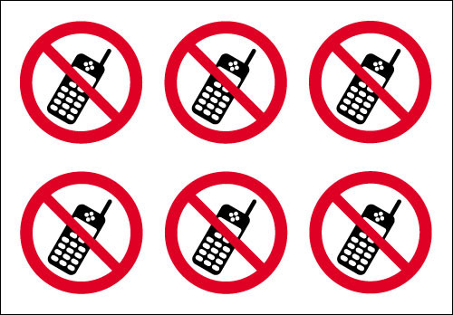 No mobile phones circular stickers