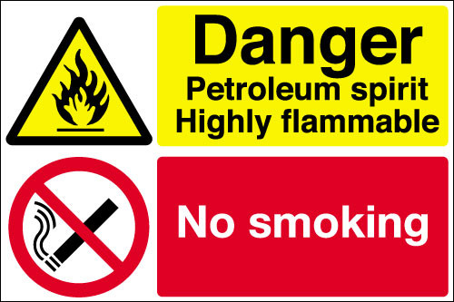 Danger Petroleum spirit Highly flammable sign