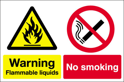 Warning Flammable liquids No smoking sign
