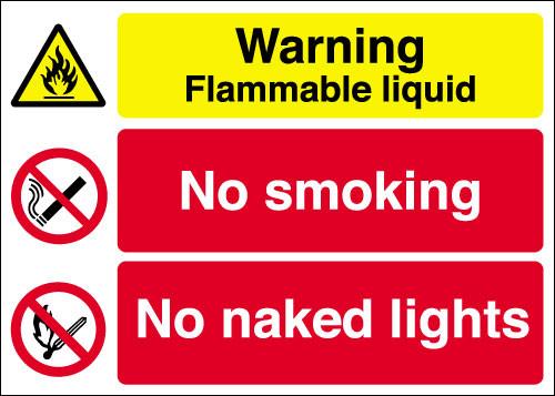Warning Flammable liquid  No smoking  No naked lights sign