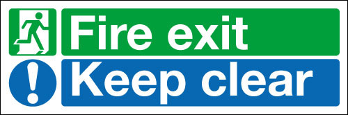 Sign Fire exit Keep clear