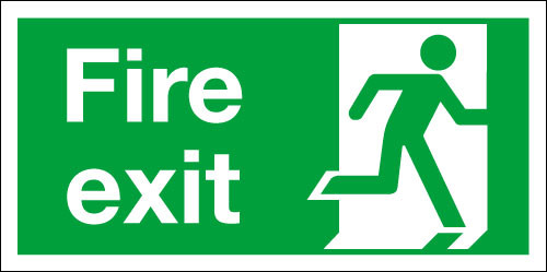 Fire exit right safety sign