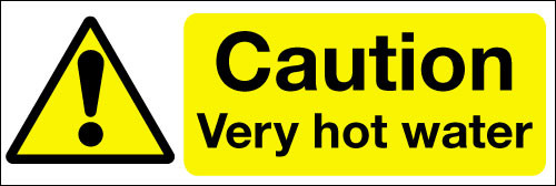 Caution very hot water safety sign