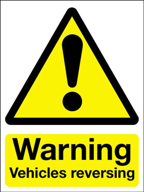 Warning vehicles reversing sign