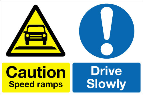 Caution speed ramps  Drive slowly multi message sign