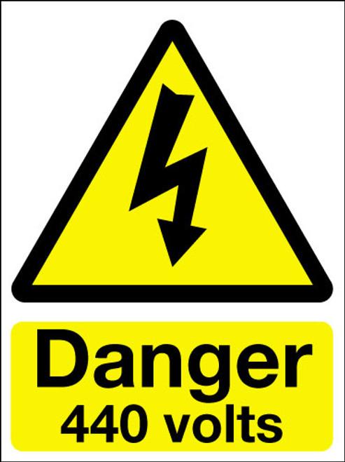 Danger 440 volts adhesive sign