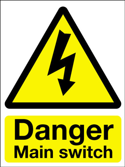 Danger main switch adhesive sign