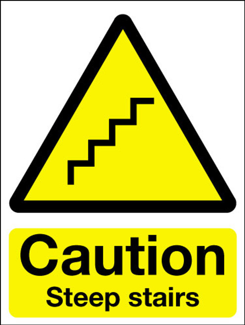Caution steep stairs sign