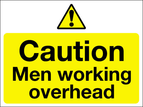 Caution men working overhead sign