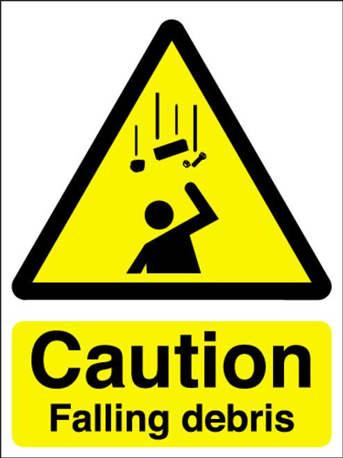 Caution falling debris sign