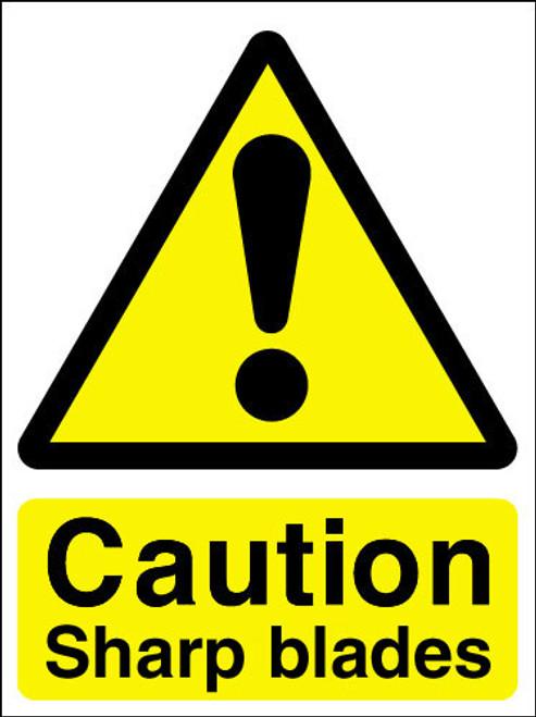 Caution sharp blades adhesive sign