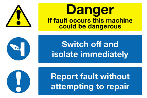 Danger machine fault muti message sign