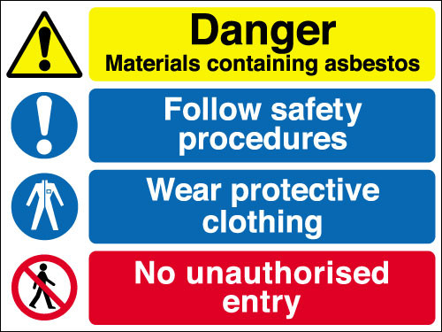 Danger materials containing asbestos sign