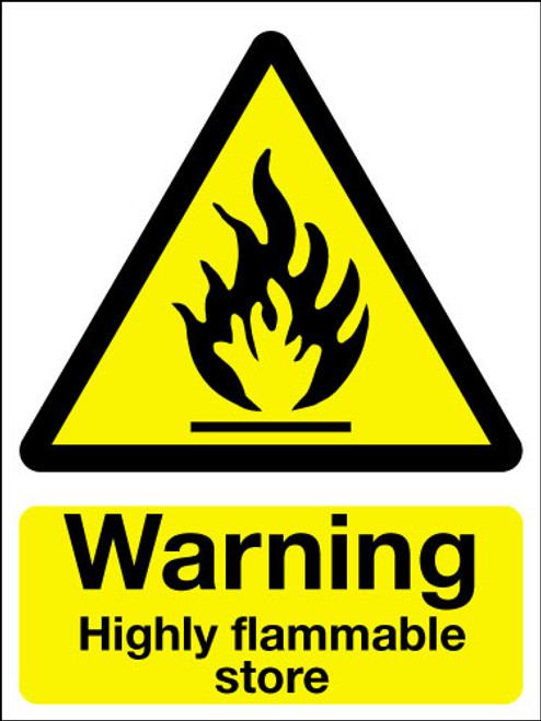Warning highly flammable store sign